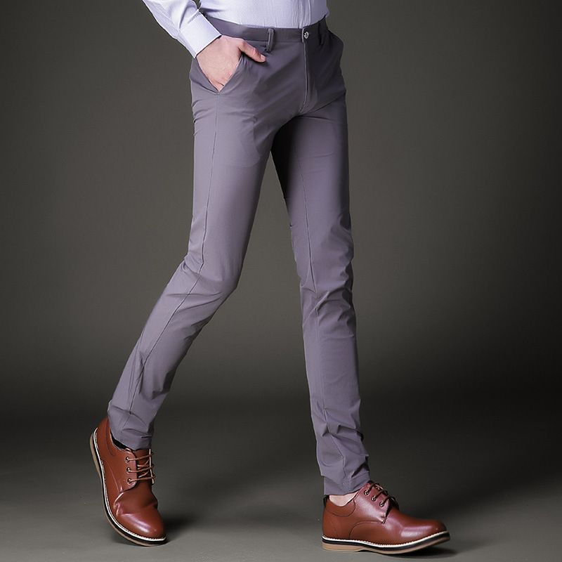 Men's capri Pencil pants trousers 2018 Summer Cotton blended fabric elastic thin small suit pants men Skinny cargo trousers boys