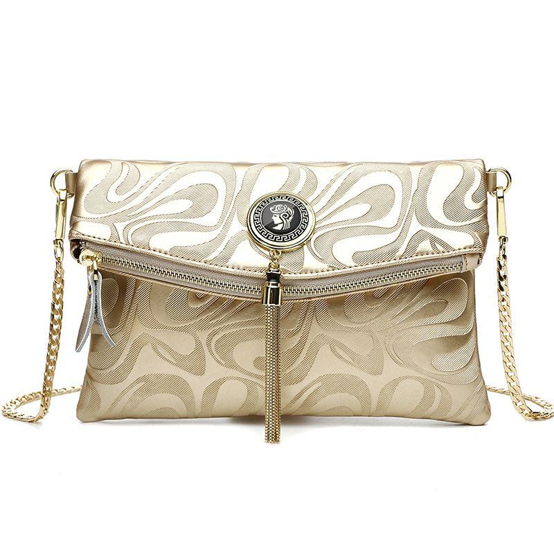Frauen brieftasche Mode Frauen design Kette Detail Umhängetasche Damen umhängetasche handtasche bolsa franja luxus abendtaschen