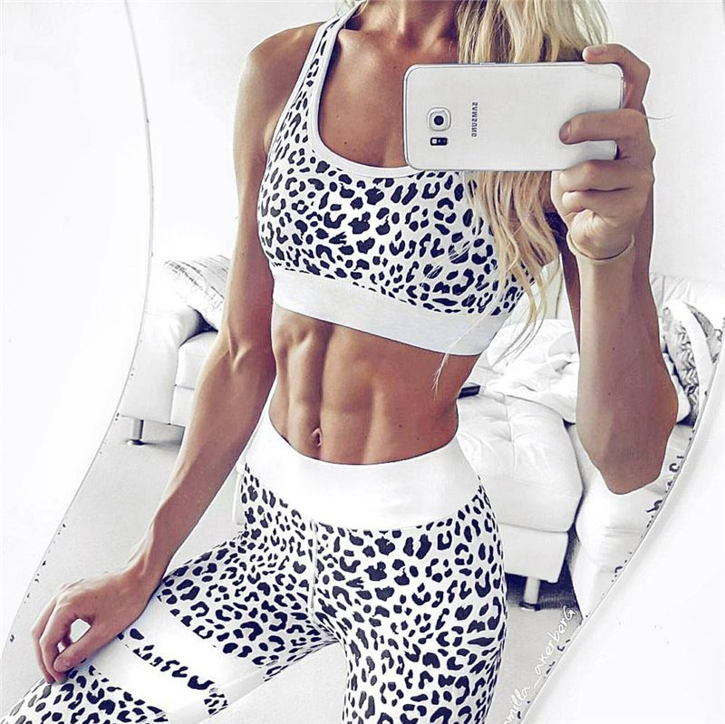 Women's Fitness Suits Crop Tank Top And Legging Pants 2 Pieces Set Summer Fashion Ladies Sexy Workout <font><b>Leopard</b></font> Printed Tracksuit