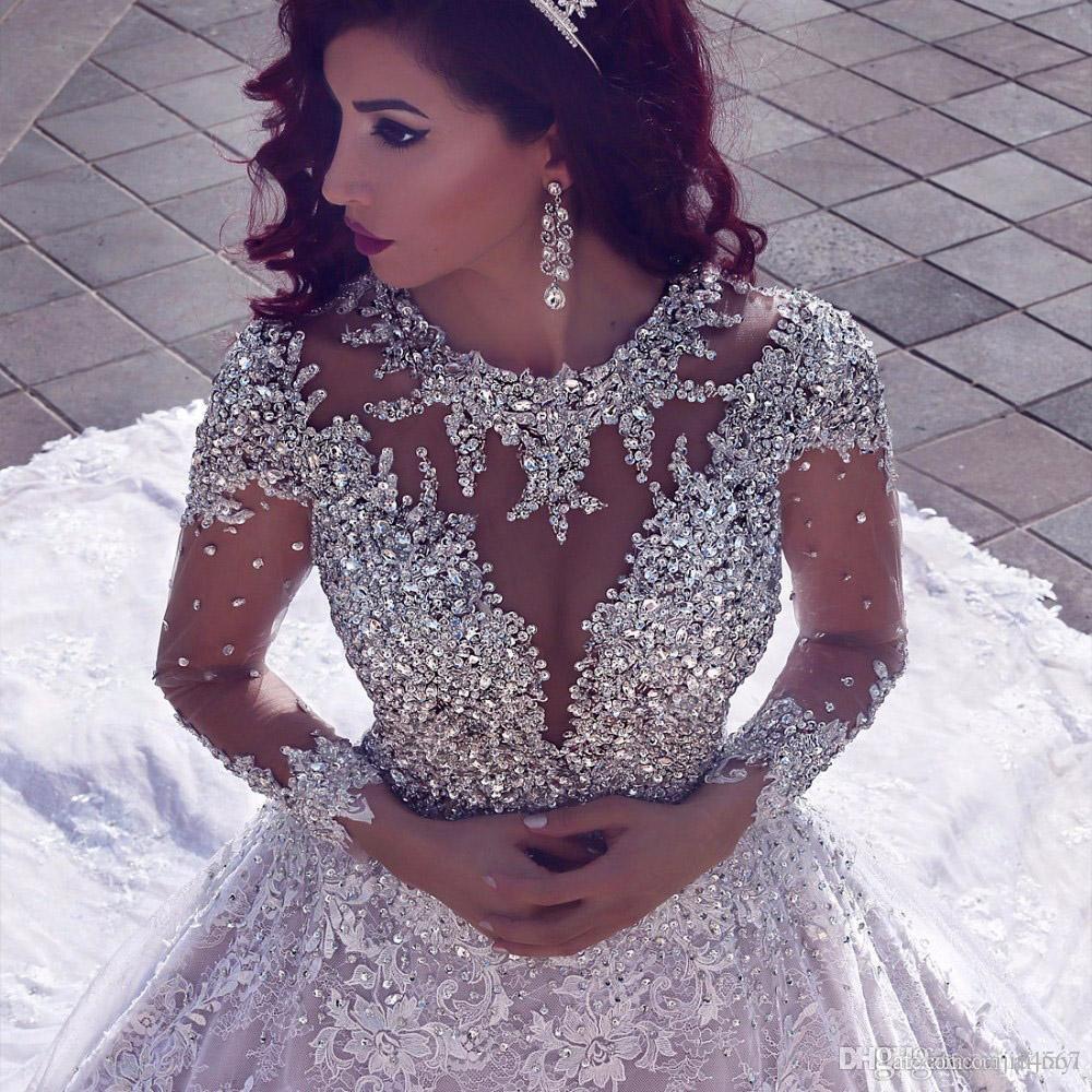 Vestido De Noiva Luxuriöse Hochzeit Kleid Lange Ärmeln 2018 Ballkleid Perlen Dubai Arabisch Muslim Brautkleider Braut Kleider