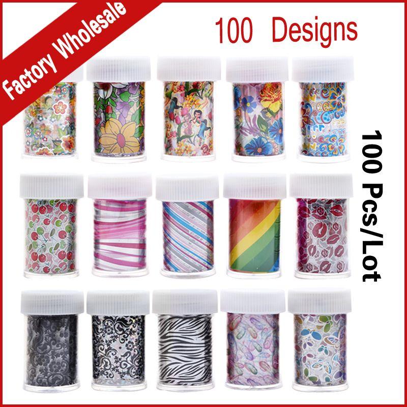 100Designs (100pcs) Nail Art Transfer Foil Sticker Flower Cartoon Nail Foils Polish Decals,Stylish Nail Decoration Tools
