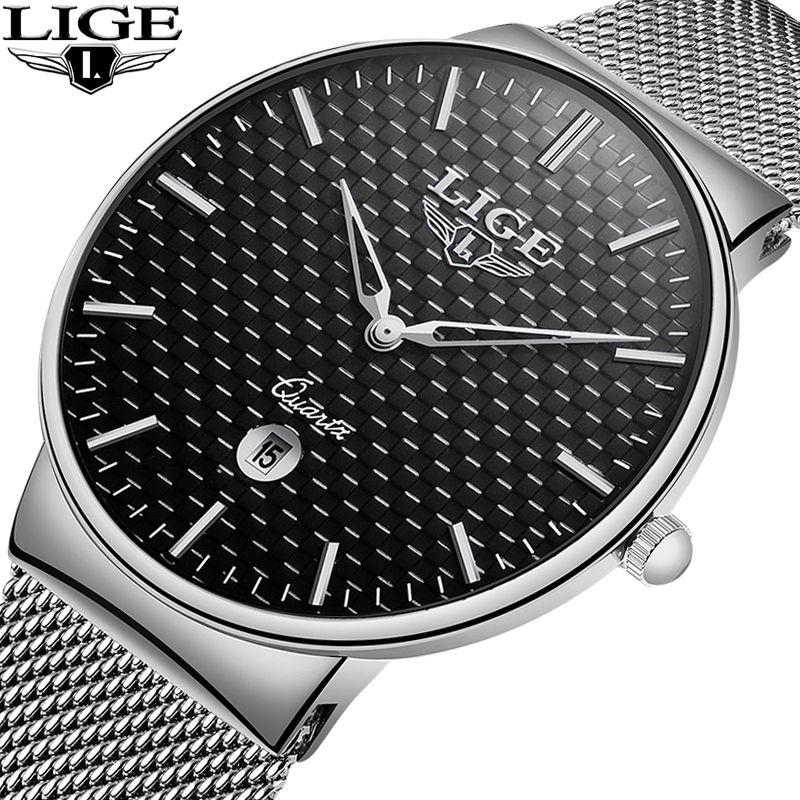 LIGE 2018 Männer Uhr Top Marke Luxus Ultra-Dünne Alle-stahl Quarz Uhren Herren Einfache Wasserdichte Sport Uhr relogio Masculino