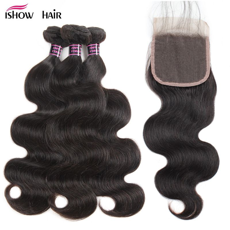 Ishow Body Wave Bundles With Closure 100% <font><b>Human</b></font> Hair Bundles With Closure 3 Bundles Brazilian Hair Weave Bundles With Closure