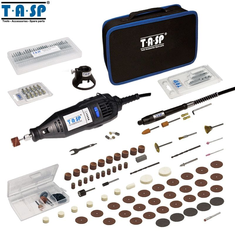 TASP 220V 130W <font><b>Rotary</b></font> Tool Set Electric Mini Drill Engraver with Flexible Shaft and 140 Accessories Power Tools