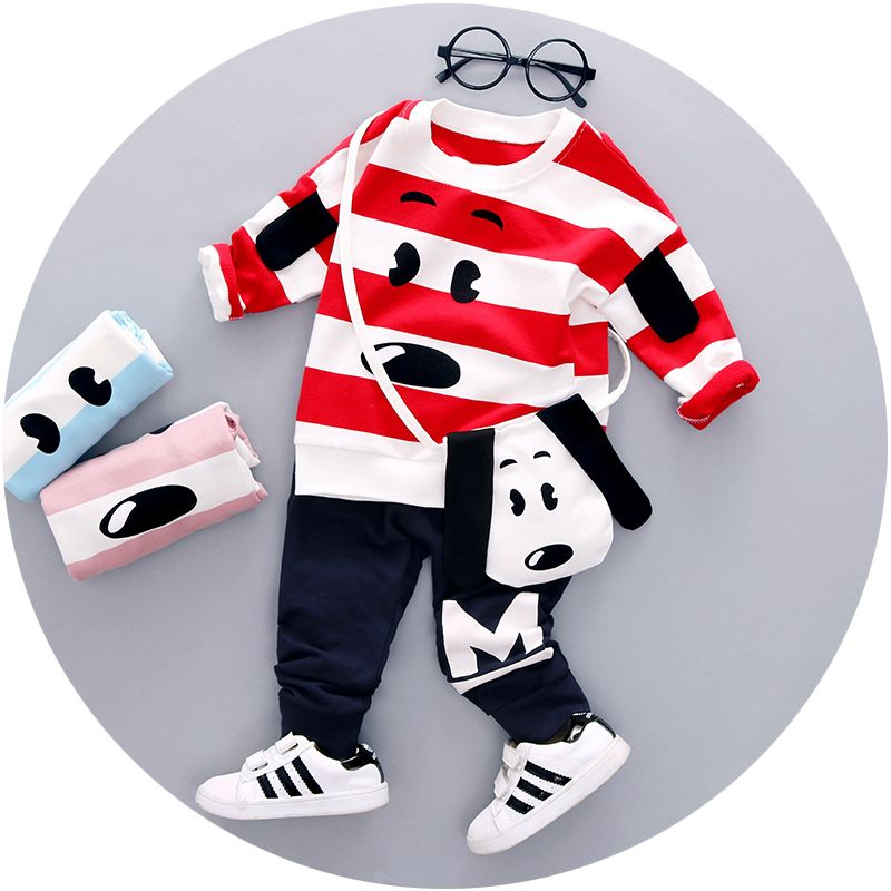 Брендовая Одежда для маленьких мальчиков новый осень 2017 г. последний тип высокого качества с длинными рукавами и круглым вырезом 1-3 лет Комп...