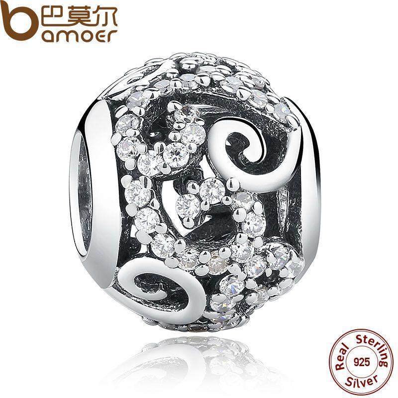 BAMOER Marque Hotsale 925 Sterling Argent Cristal Rond Charmes fit Bracelets Collier Mère Cadeau SCC021