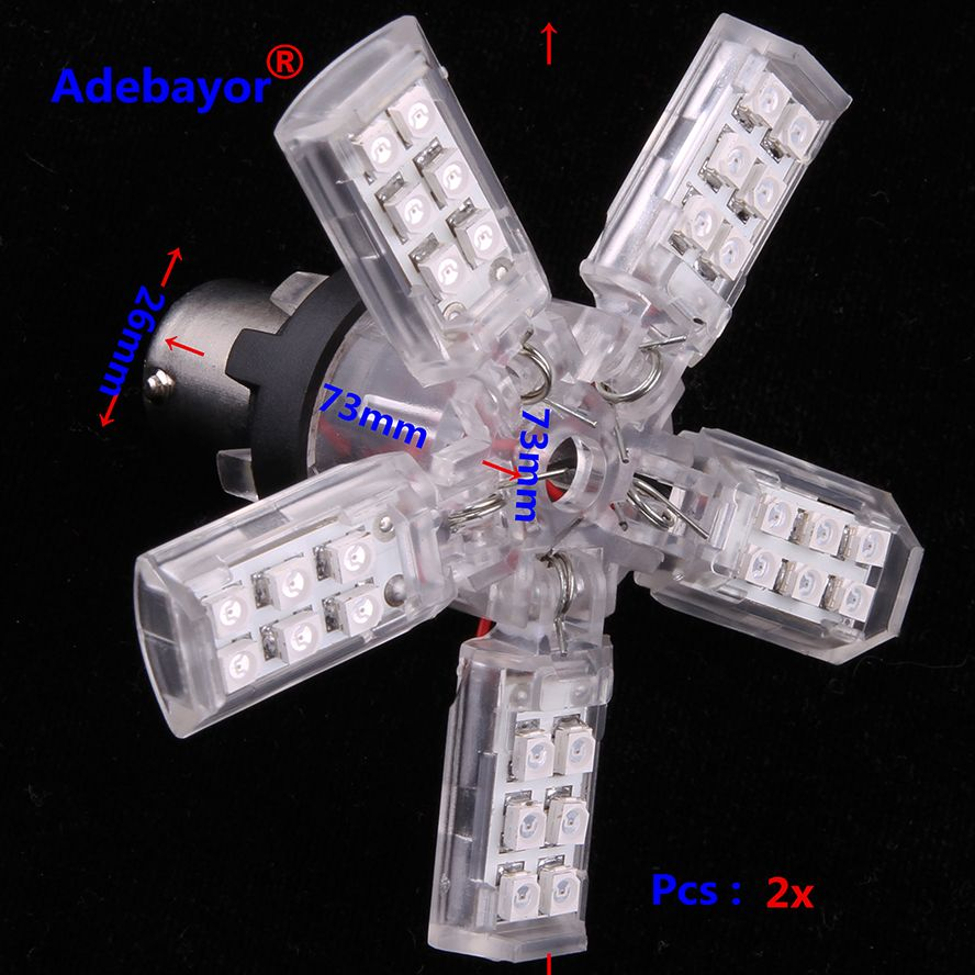 2 x 1156 LED bulbs High Quality 5-Arms Expandable 40-SMD yellow