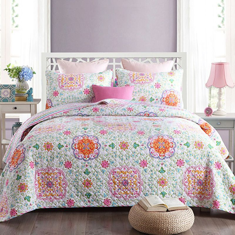 CHAUSUB New Quilt Set 3PCS Washed Cotton Quilts Bedspread Quilted Bed Cover Sheets Pillowcase Printed Coverlet Set King Size