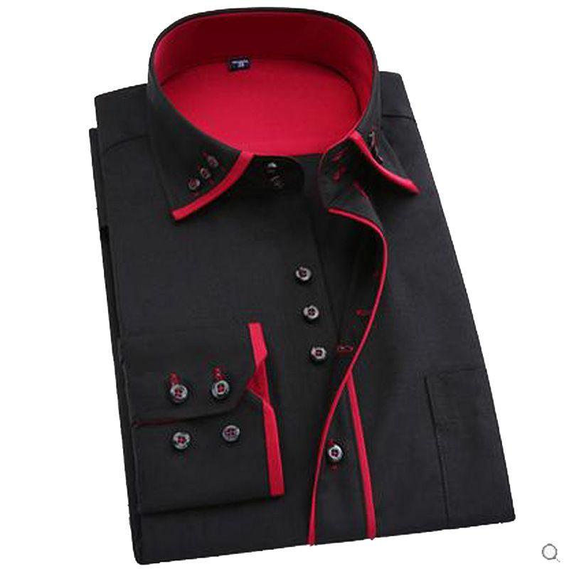 Hot sale 2017 super long-sleeve plus size men dress shirt male business  spring autumn long sleeve men camisa masculina
