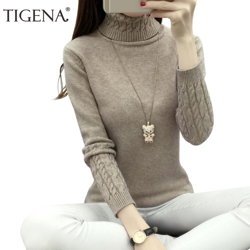 TIGENA Thick Warm Women Turtleneck 2018 Winter Women Sweaters And Pullovers Knit Long Sleeve <font><b>Cashmere</b></font> Sweater Female Jumper Tops