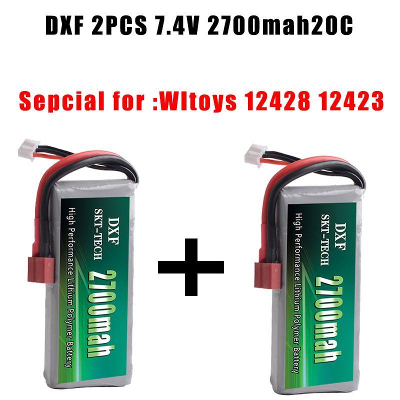 2PCS DXF Good Quality Rc Lipo Battery 2S 7.4V 2700mah 20C Max 30C for Wltoys 12428 12423 1:12 RC Car Spare parts