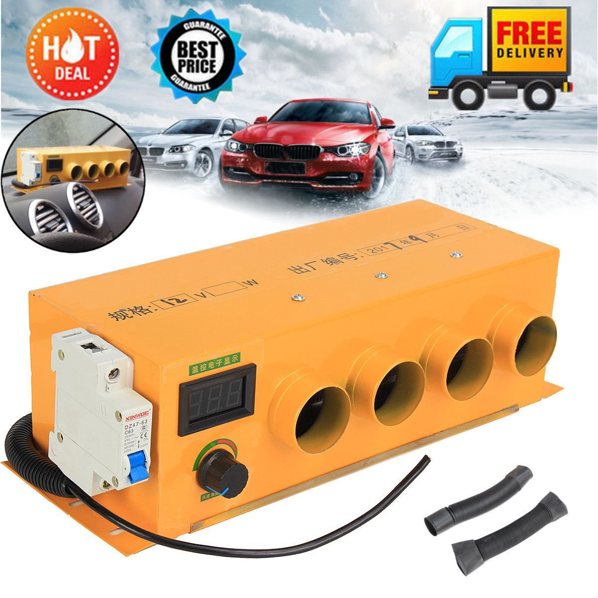 DC 12V/2000W Four Holes Car Heater Warmer Fans Protect Window Defroster Demister