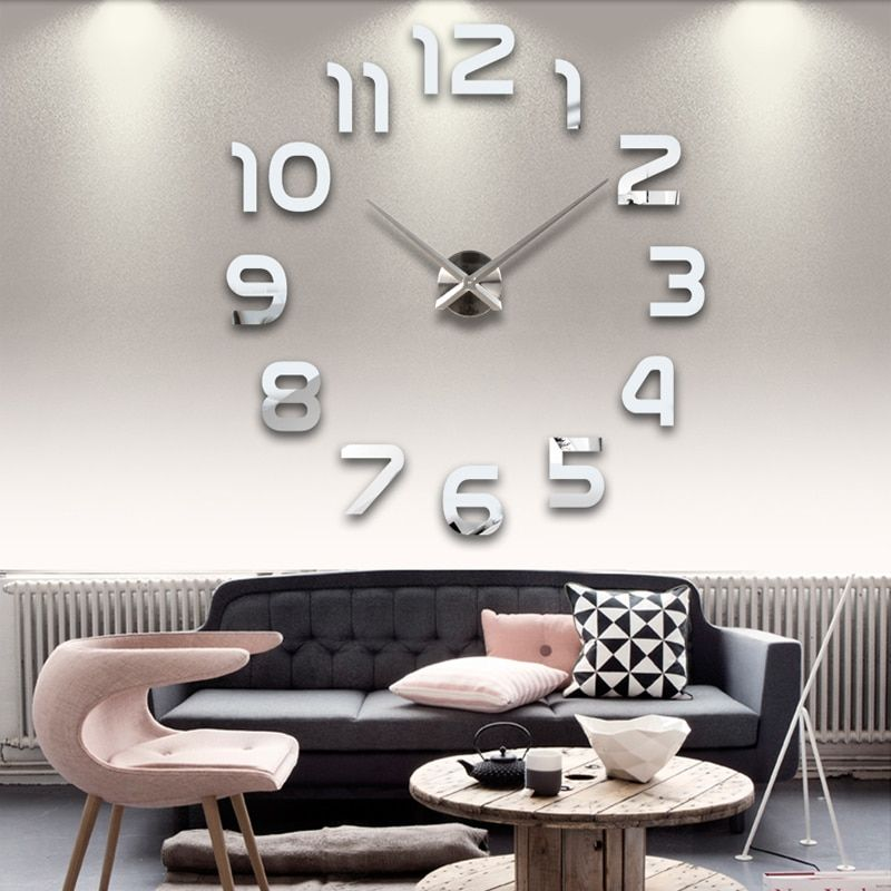 2016 nouvelle horloge montre mur horloges horloge 3d diy acrylique miroir Autocollants Décoration de La Maison Salon Quartz Aiguille livraison gratuite