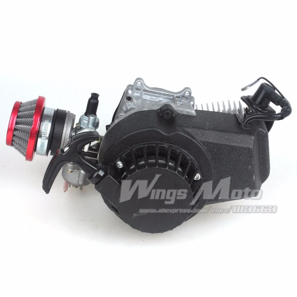 49CC 2-stroke Engine Motor Pocket Mini Bike Scooter ATV 6T T8F Chain 44MM Bore ALU Starter Racing Air Filter