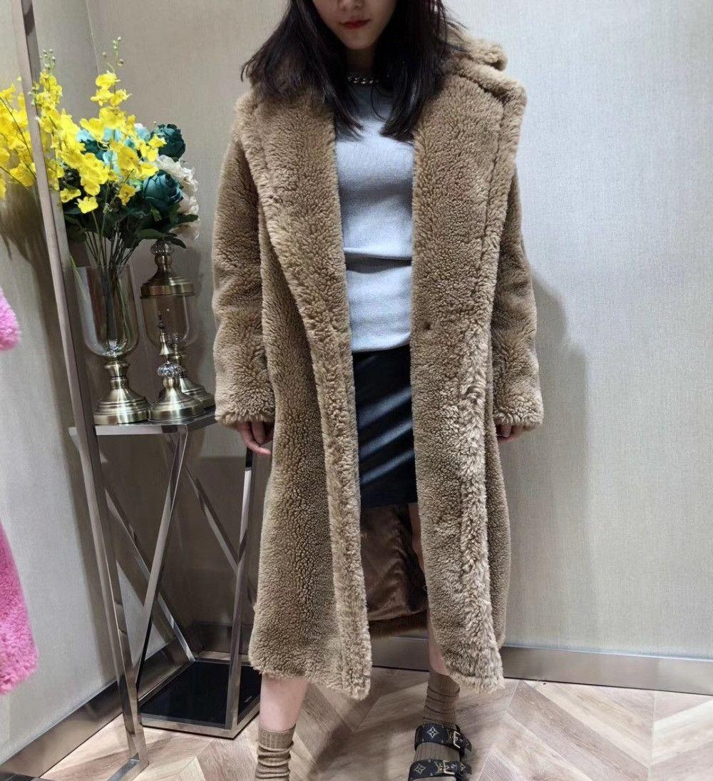 100% alpaka Echt Pelzmantel Frauen Winter Anzug Kragen Lange Natur Teddybär Pelz Mäntel Mantel Weiblichen Echten Pelze Jacke