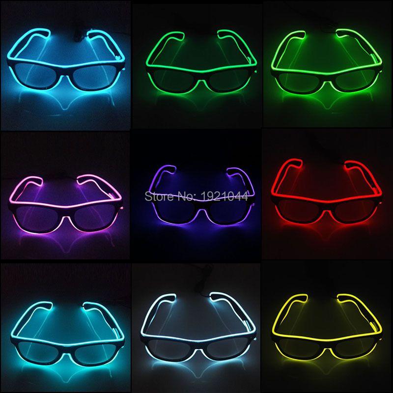 10 couleurs Choix Clignotant EL Fil Led Lunettes Néon Lueur Corde Lumineux Partie Éclairage Coloré Lumineux Cadeau Pour la Décoration de Partie
