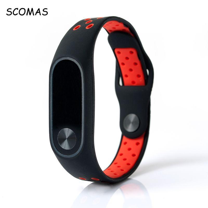 SCOMAS Silicone Strap For Xiaomi Mi Band 2 Bracelet Double Color Wrist Belt For Xiaomi Band 2 For MI BAND 2 STRAP Accessories