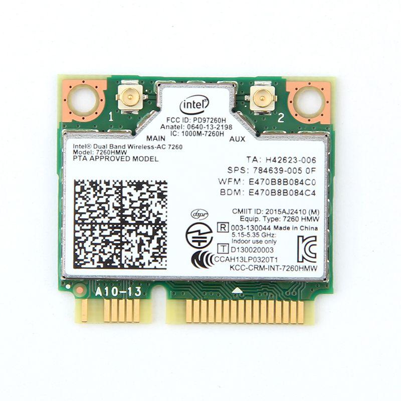 Double Bande AC1200 Sans Fil Adaptateur pour Intel 7260 7260HMW AC MINI PCI-E Carte 2.4g/5g Wifi + bluetooth 4.0 pour Dell/Sony/ACER/ASUS