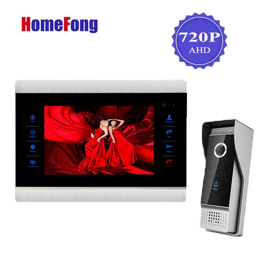 Homefong 7 Inch AHD HD Video Doorbell Door Phone Intercom System 720P Metal Picture Video Recording 1 Monitor 1 Doorbell