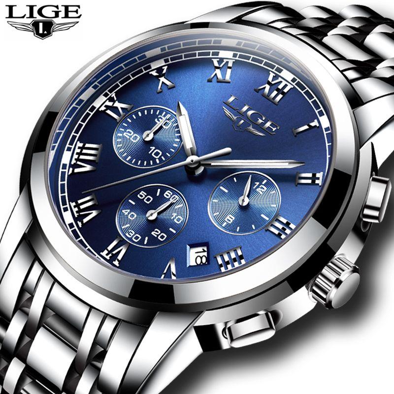2019 New Watches Men Luxury Brand LIGE Chronograph Men Sports Watches Waterproof Full Steel Quartz Men's Watch Relogio Masculino