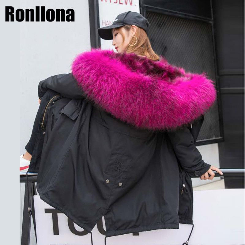 2018 New Real Raccoon Fur Parka Winter Warm Jacket Women Natural Long Coat With Large Raccoon Fur Collar Hooded Female Down Coat