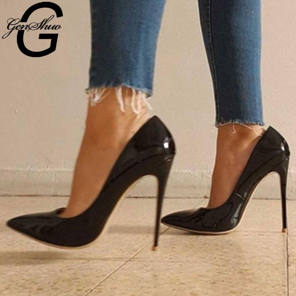 Escarpins femmes, chaussures à talons hauts 12 cm noir Stiletto bout pointu femme chaussures Sexy chaussures de fête talons nus pour femmes grande taille 5-12