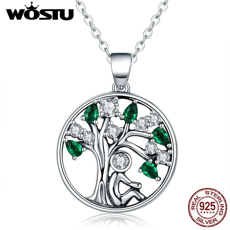 WOSTU New Arrival Real 925 Sterling Silver Relying in the Tree Pendant Necklaces For Women Luxury Fine Jewelry Gift CQN094