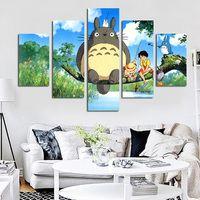 5 Панель современный Хаяо Миядзаки Тоторо Книги по искусству HD печати модульные стены живопись плакат картина для детской комнаты c Книги по...