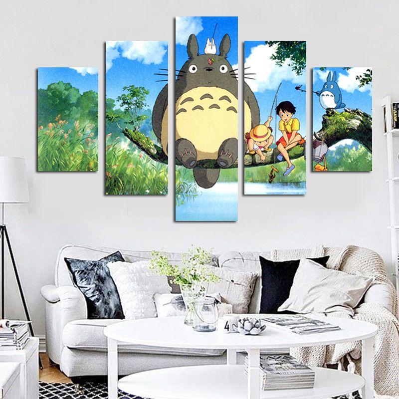 5 Panel Modern Miyazaki Hayao Totoro Art HD Print Modular Wall Painting Poster <font><b>Picture</b></font> For Kids Room Cartoon Wall Cuadros Decor