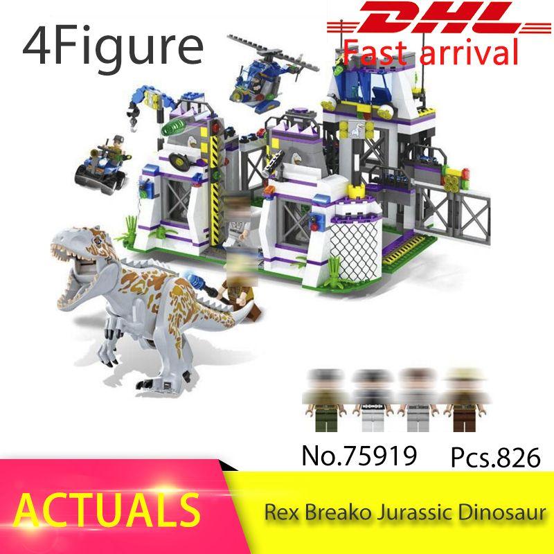 Violent Brutal Dinosaur Indominus Rex Breako Jurassic Dinosaur World 826pcs Bricks Building Block Toys For Children 75919