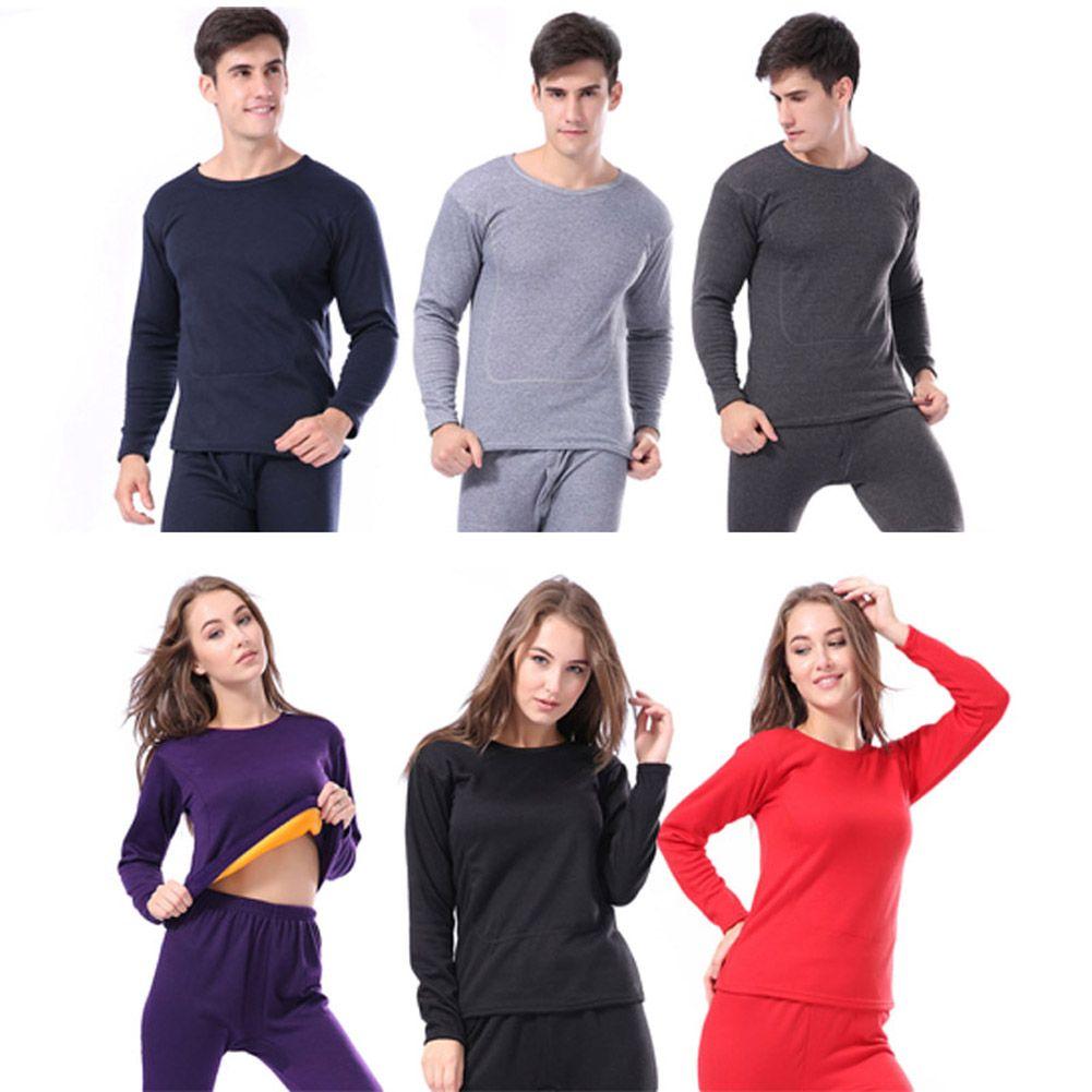 Las mujeres de Los Hombres de Invierno Caliente Larga Ropa Interior Térmica Johns Conjuntos de Ropa Interior de Terciopelo Grueso Tops + Pantalones de Pijama Set H9