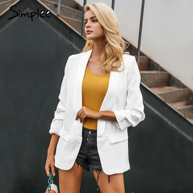 Simplee Turn-down pocket blazer coat women Ruched sleeve black suit blazer Cool OL slim winter outerwear female 2017 new