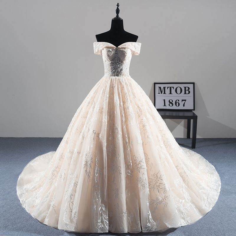 New Arrival Sexy A-line Lace Wedding Dress 2018 Romantic Robe De Mariage Vestido De Noiva Luxury beading Bride Dresses MTOB1814
