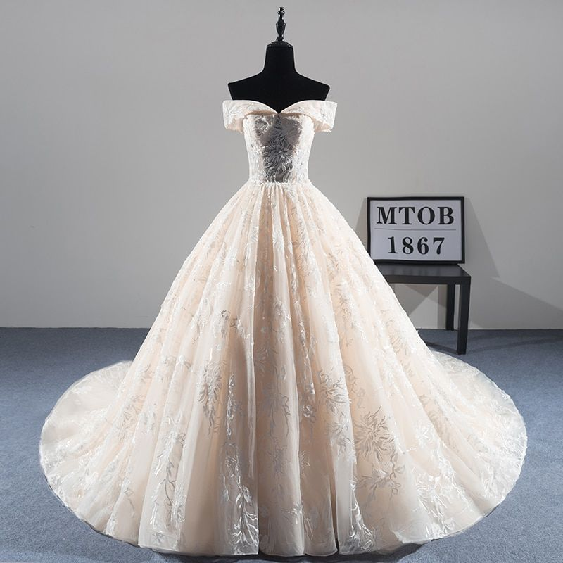 New Arrival Sexy A-line Lace Wedding Dress 2018 Romantic Robe De Mariage Vestido De Noiva Luxury beading Bride Dresses MTOB1814