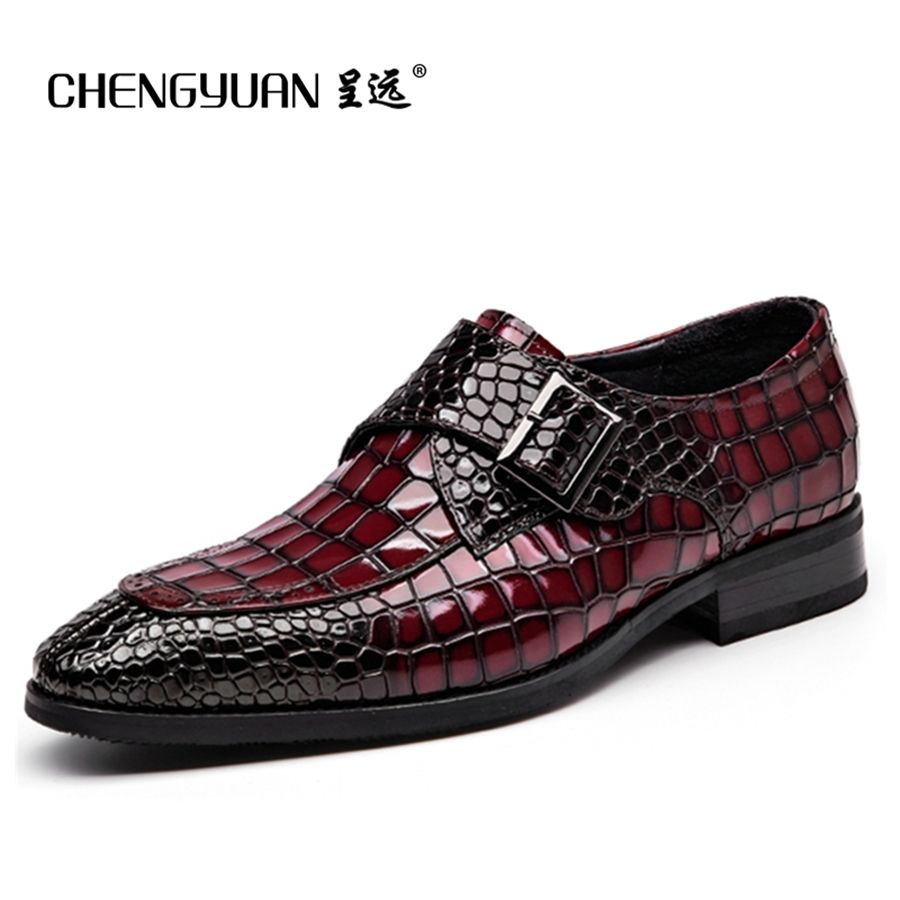 Mens Bullock genuine wine red leather shoes buckle black men party <font><b>wedding</b></font> dress shoe Business Leather Shoes ST68102 CHENGYUAN