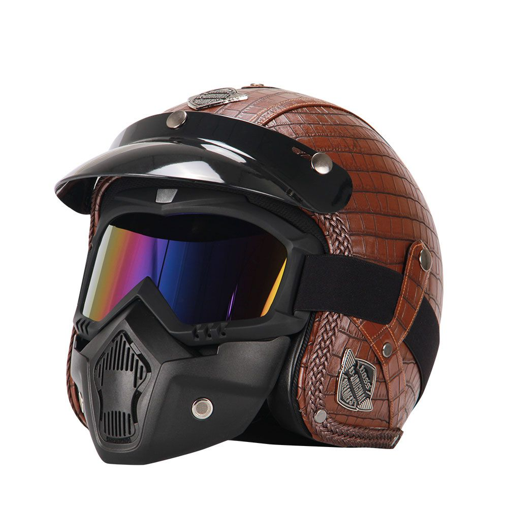 Retro Vintage Motorcycle Helmet Synthetic Leather 3/4 Open Face Helmet Cafe Racer Cruiser Chopper Casco Moto Helmet DOT