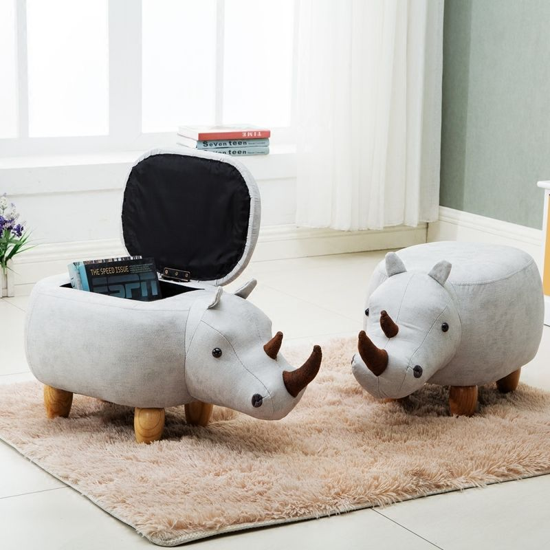 2018 Storage Box Organizador Organizer Rhino Container Stool Animal Change Shoe Wood Household Sofa Europe Sundries Polygon