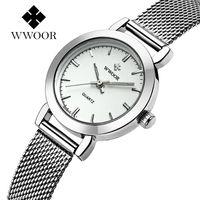 Reloj de cuarzo de acero inoxidable ultradelgado WWOOR para mujer reloj de pulsera Casual para mujer reloj de regalo para mujer