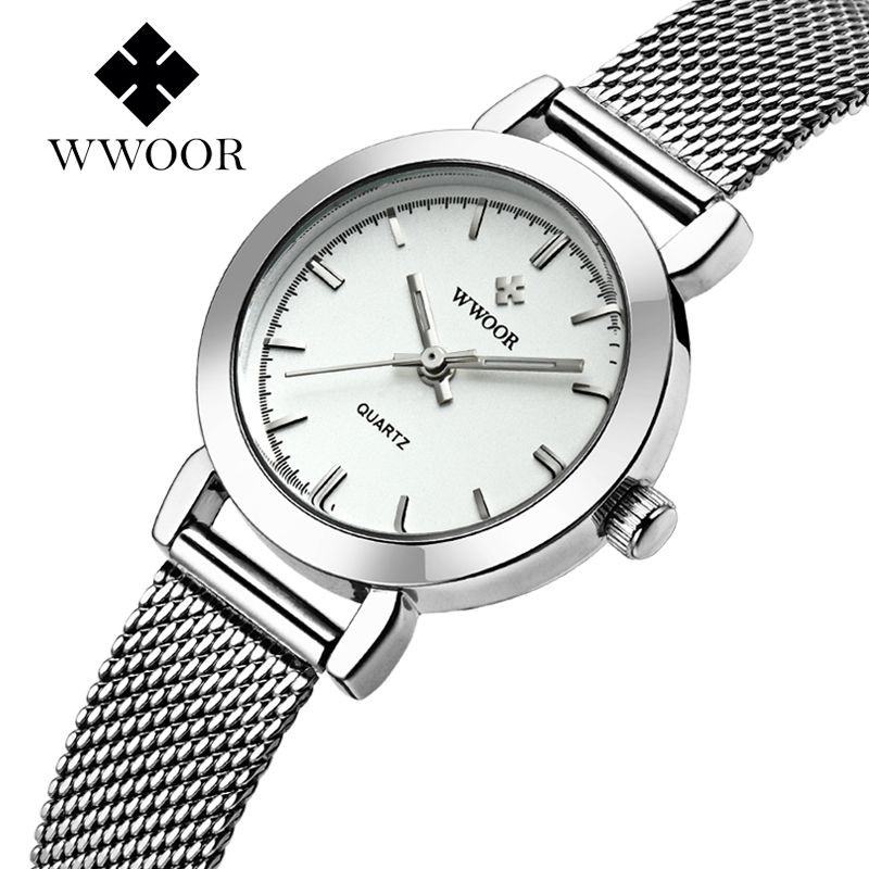 WWOOR Women's Watch Ultra Thin Stainless Steel Quartz Watch Lady Casual Hours Bracelet Watches Women Lover's Female Clock Gift