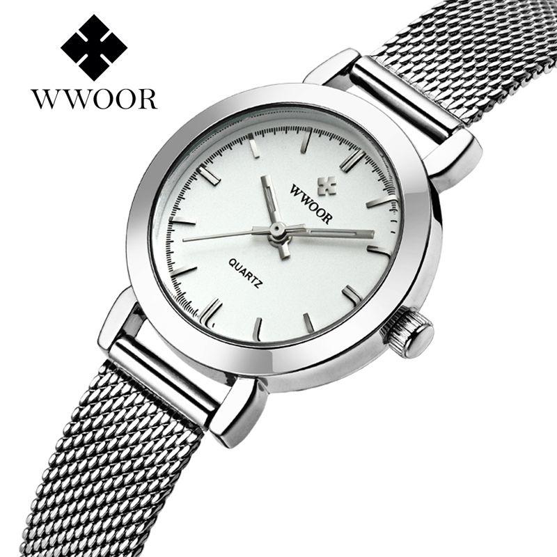 Wwoor Для женщин часы ультра тонкий Нержавеющаясталь Кварцевые часы Lady Повседневное часы браслет Часы Для женщин любовника женский часы под...