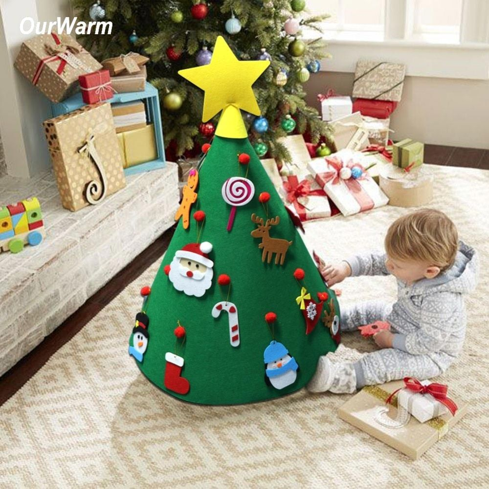 OurWarm 3D DIY Felt Toddler Christmas Tree New Year Kids Gifts Toys Artificial Tree Xmas Home Decoration Hanging Ornaments