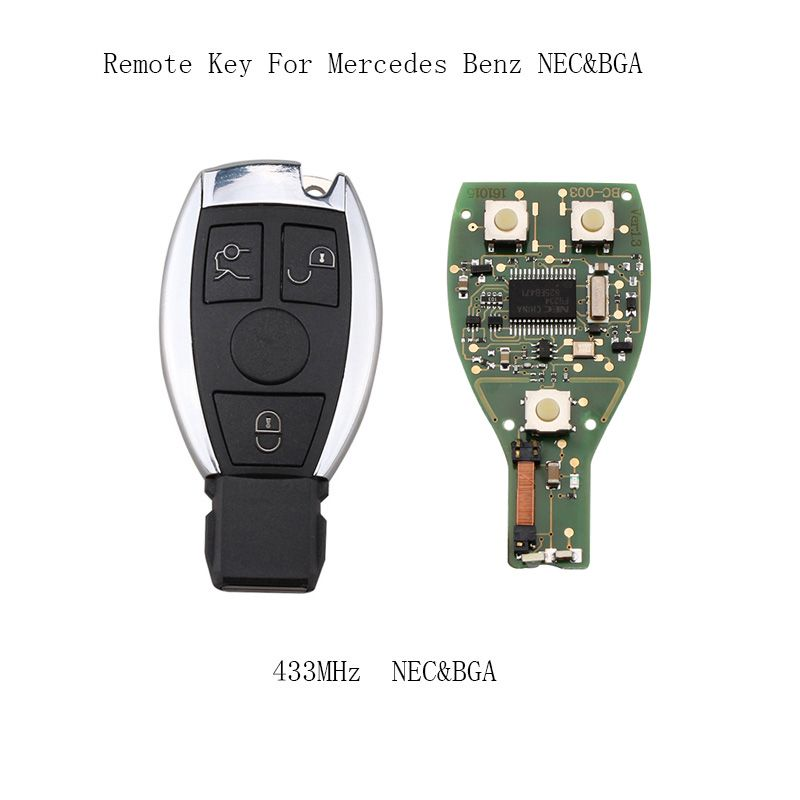 3 Buttons 433mhz Complete Remote Key For Mercedes Benz year 2000+NEC&BGA style Auto Remote Key For Benz IYZDC07 key+Blade