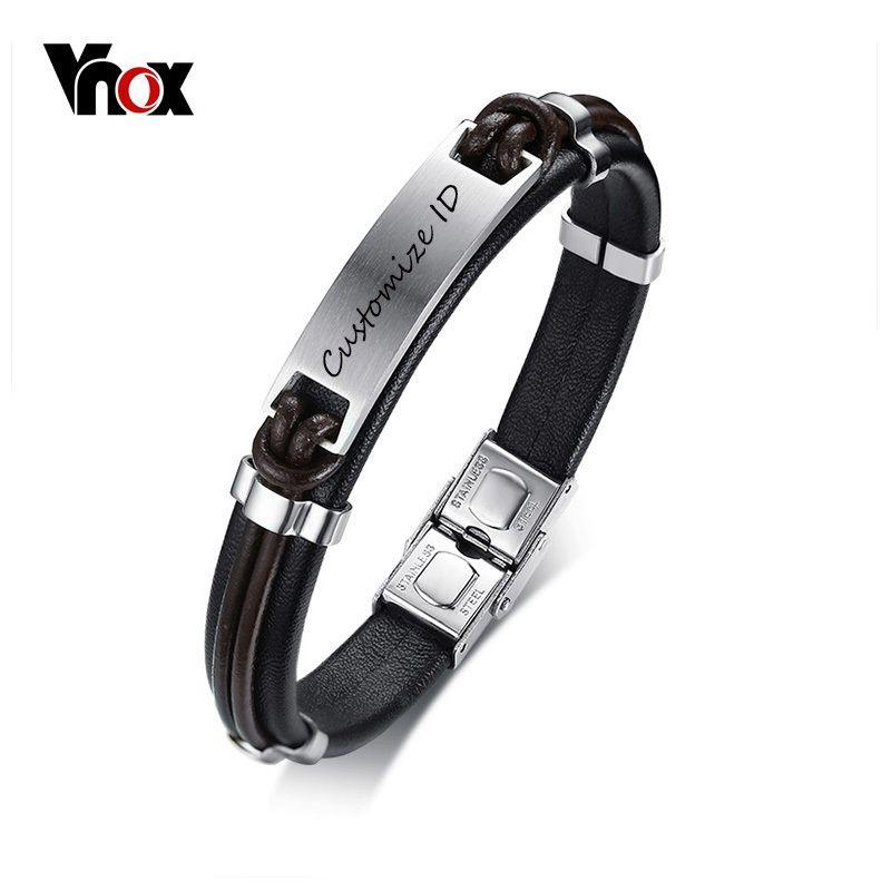 Vnox Black Genuine Leather Bracelet for Men Free Customize ID Bracelet Stainless Steel Male Street Party Jewelry