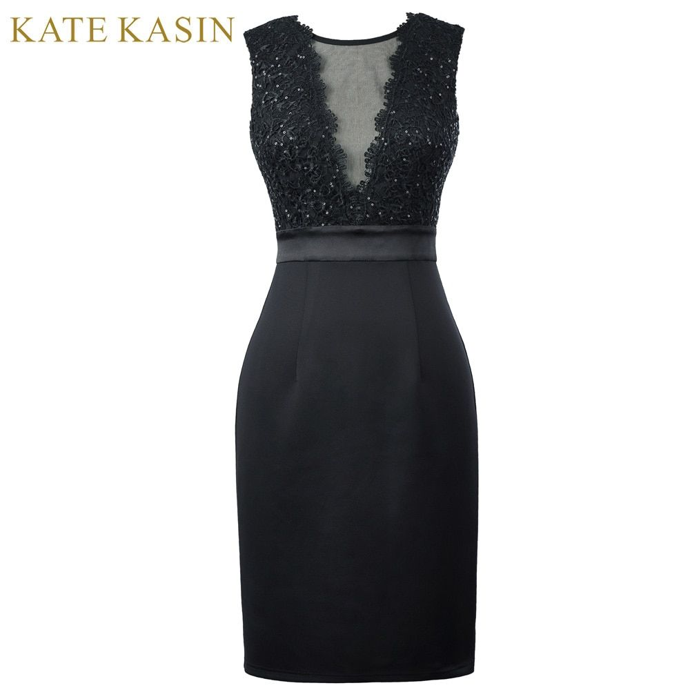Kate kasin Элегантные Короткие Бальные платья 2017 без рукавов V-Back карандаш платье женский, черный облегающее вечернее торжественное платье 1071