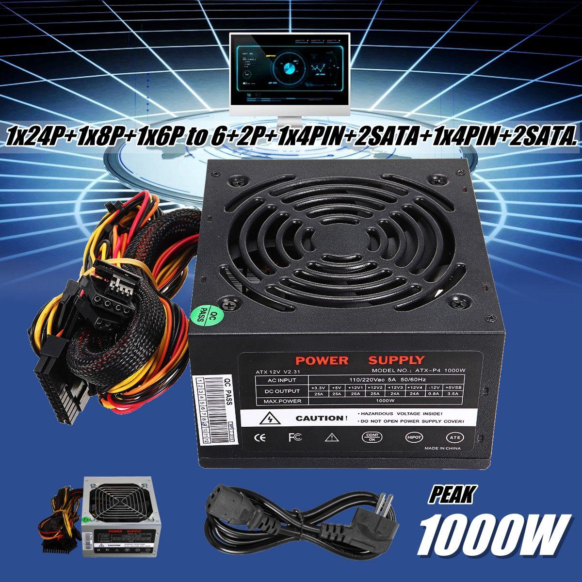 Black 1000W Power Supply PSU PFC Silent Fan ATX 24pin 12V PC Computer SATA Gaming PC Power Supply For Intel AMD Computer