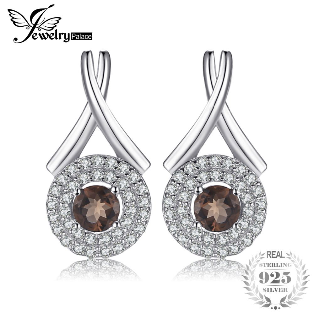JewelryPalace Fashion X marks 0.79ct Round Natural Smoky Quartz Stud Earrings For Women Pure 925 Sterling Silver Fine Jewelry