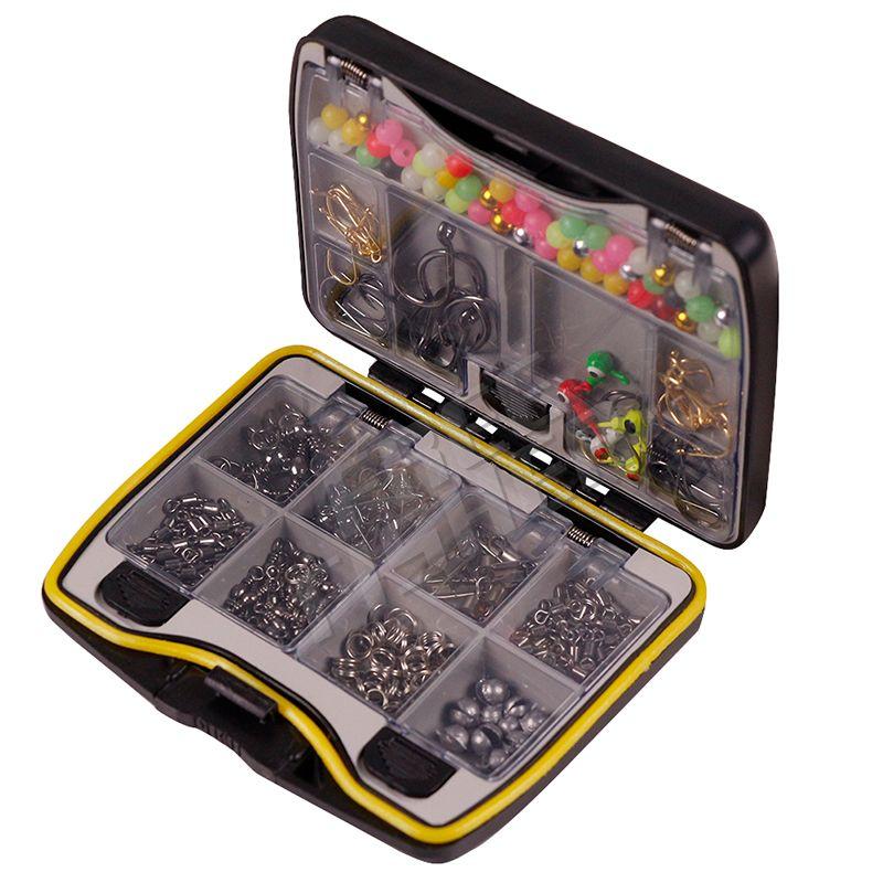 Ensemble d'outils de pêche de marque de pêche boîte bouchon Jig crochet pivotant Snap plomb Sinker mallette de rangement hameçons connecteur Kit matériel de pêche