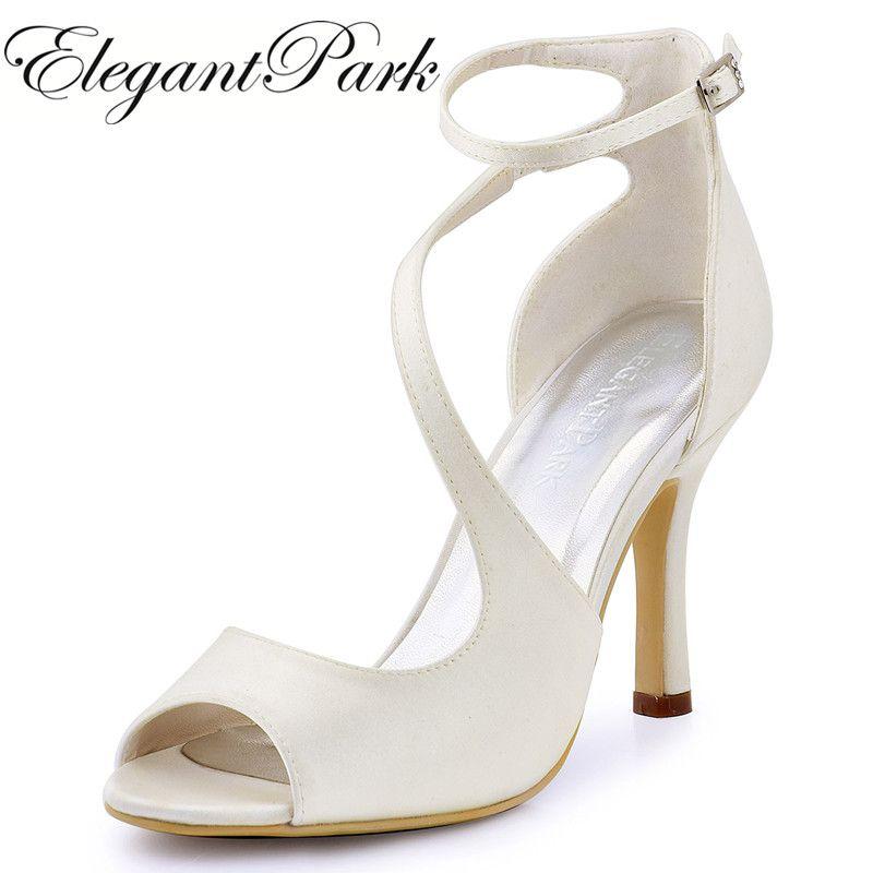 Femmes d'été sandales ivoire mariage mariée cheville sangle haut talon mariée demoiselle d'honneur Sexy soirée chaussures rose chaud bleu HP1565
