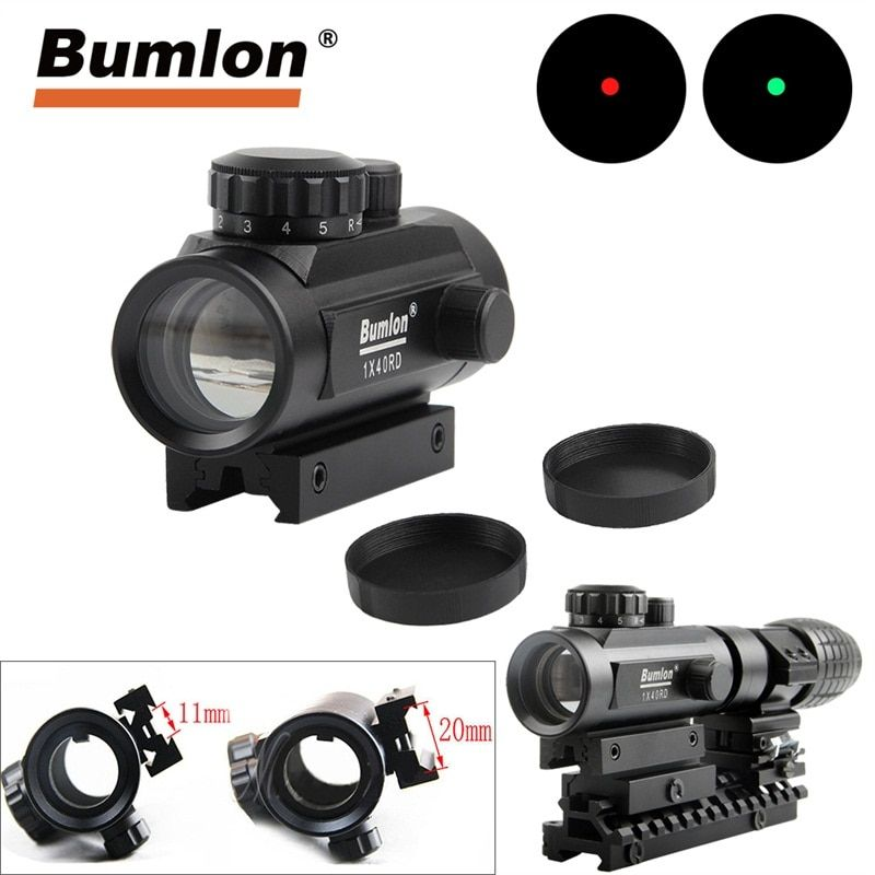 Holographic 1 x 40 Red Dot Sight Airsoft Red Green Dot Sight Scope Hunting Scope 11mm 20mm Rail Mount Collimator Sight HT5-0013
