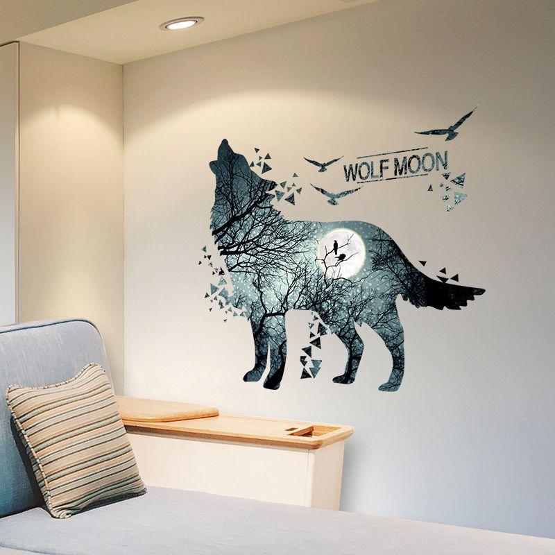 [SHIJUEHEZI] Loup autcollants muraux Vinyle bricolage peinture murale animaux Stickers pour La Maison Chambres D'enfants Bébé Bébé Chambre Salon Décoration